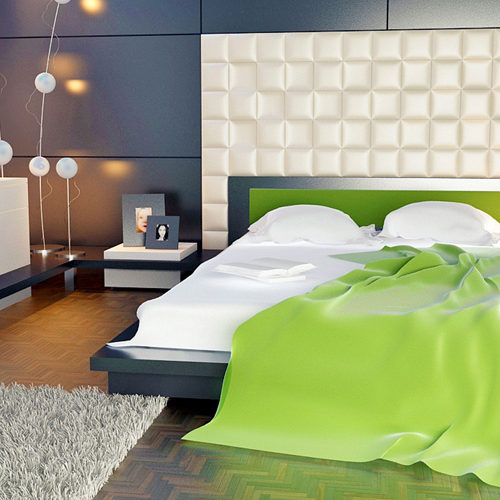 House Interior with green bed